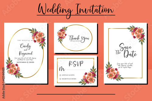Photo Wedding invitation frame set, floral watercolor hand drawn Zinnia and Pansy Flow