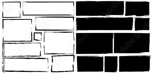 Photo Sketch brush rectangles set for paper design