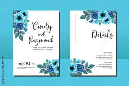 Foto Wedding invitation frame set, floral watercolor hand drawn Blue Rose and Anemone