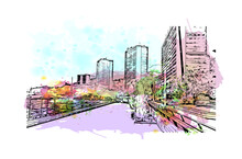 BUIlding View With Landmark Of Monte Is The  City In California. Watercolor Splash With Hand Drawn Sketch Illustration In Vector.