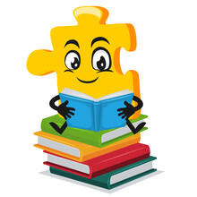 Vector Illustration Of Puzzle Mascot Or Character Reading Book