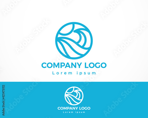Foto wave circle logo creative line illustration vector emblem