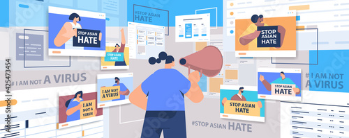 mix race people holding text banners against bullying and racism stop asian hate Poster Mural XXL