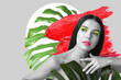 Creative collage with beautiful young woman, tropical leaves and lipstick strokes
