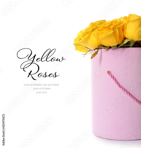 Obraz Gift box with fresh yellow roses on white background with space for text - fototapety do salonu