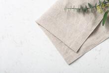 Folded Linen Napkin On Marble Table
