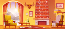 Chalet House Interior With Fireplace And Mountains Behind Window. Vector Cartoon Illustration Of Traditional Lodge, Mountain Cottage Living Room With Chairs And Horns On Wall