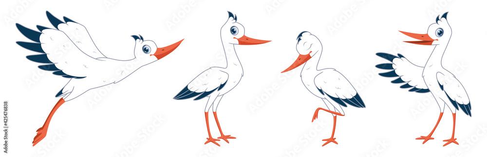 Fototapeta Cartoon set of storks in different poses. Vector illustration of storks on white background