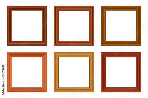Fototapeta Set of squared golden vintage wooden frame for your design. Vintage cover. Place for text. Vintage antique gold modern rectangular frames. Template vector illustration obraz na płótnie