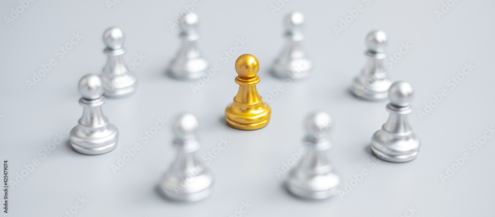 Fototapeta golden chess pawn pieces or leader  leader businessman with circle of silver men. leadership, business, team, and teamwork concept