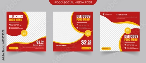 social media instagram post and stories template for food menu ads and restaurant promotion simple banner frame