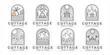 Set Of Cottage Or Cabin Line Art Minimalist Simple Vector Logo Illustration Design. Bundle Collection Of Cottage Or Cabin At The Mountain Forest And The Beach For Logo Line Art Concept Vector Design