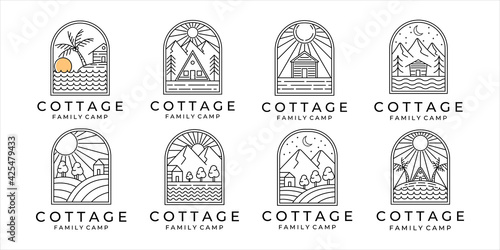 Canvas Print set of cottage or cabin line art minimalist simple vector logo illustration design