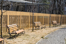 Beautiful Park With Pathway, Arbors And Benches