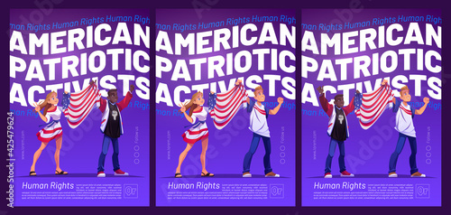 Obraz na plátne American patriotic activists poster with people holding USA flag