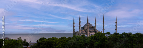 Obraz na plátně front view, sultan ahmed mosque ( Blue mosque ) in front of a cloudy day background