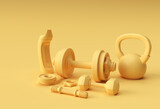3d Render Dumbbells Set, Realistic Detailed Close Up View Isolated Sport Element of Fitness Dumbbell Design.