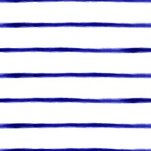 Blue Watercolor Seamless Stripes Pattern Background. Dark Royal Blue Ink Stripes Thin Horizontal On White Repeating Pattern. High Quality Photo.