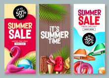 Summer Sale Vector Poster Design. Summer Promotion Flyer Set For Special Promo Shopping Coupon Sale Design. Vector Illustration.