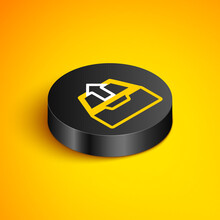 Isometric Line Upload Inbox Icon Isolated On Yellow Background. Extract Files From Archive. Black Circle Button. Vector