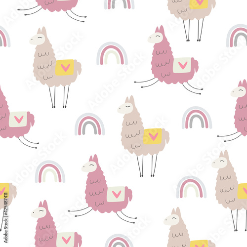 Fototapeta premium Hand drawn Lama cute print . Cute lama cartoon character. seamless patter