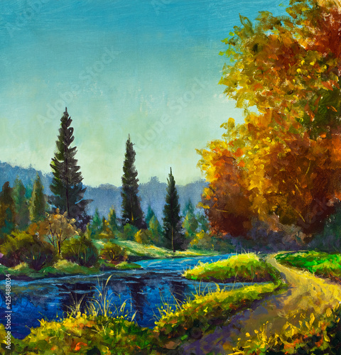 Fotomural Original artistic modern impressionism hand painting Path sunny footpath road ne