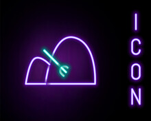 Glowing Neon Line Bale Of Hay And Rake Icon Isolated On Black Background. Colorful Outline Concept. Vector