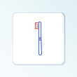 Line Toothbrush icon isolated on white background. Colorful outline concept. Vector
