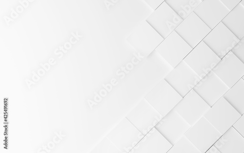 Obraz Geometric abstract white background from squares, 3d rendering. - fototapety do salonu
