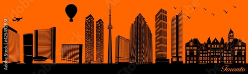 Fototapeta premium Vector city skyline silhouette - illustration, Town in orange background, Toronto Canada