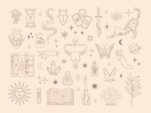 Witchcraft Sacred Big Set, Mystic Magical Symbols For Flash Tattoo, Hand Drawn Mystery Gold Line Art Collection, Modern Boho Style Elements Sun, Stars, Eye, Potion. Vector Icons And Logo Illustration