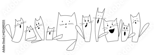 Canvas Print Simple vector drawing of ten funny screaming cats isolated on white background