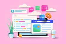 Web Development, Application Design, Coding, And Programming On Laptop Concept On Pink Background. 3d Vector Illustration