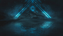 Futuristic Fantasy Night Landscape With Abstract Landscape And Island, Moonlight, Radiance, Moon, Neon. Dark Natural Scene With Light Reflection In Water. Neon Space Galaxy Portal. 3D Illustration.