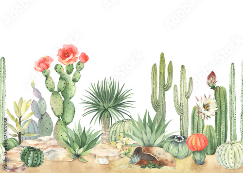 Obraz Horizontal seamless pattern with blooming cacti, succulents. Watercolor border, colorful mexican landscape on sand with stones. Illustration on white background. - fototapety do salonu