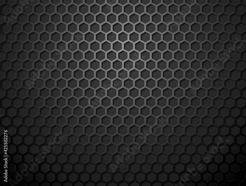 Canvastavla Vector metal hex grid black background