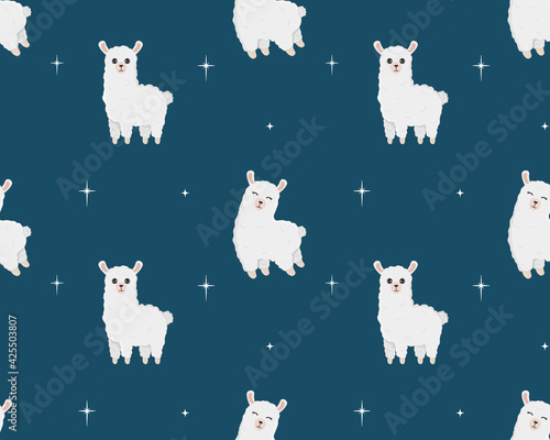 Fototapeta premium Seamless pattern of cute alpaca in different poses. Cartoon design animal character flat vector style. Baby texture for fabric, wrapping, textile, wallpaper, clothing.