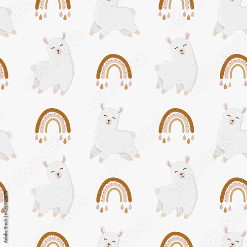 Fototapeta premium Seamless vector pattern with llama (alpaca) and rainbow. Trendy baby texture for fabric, wallpaper, apparel, wrapping