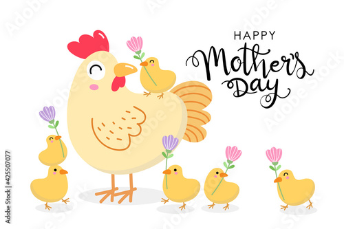 Fényképezés Happy Mother's Day greeting card with cute hen and chicks with flowers