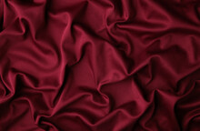 Smooth Elegant Burgundy Silk Or Satin Luxury Cloth Texture Can Use As Abstract Background. Luxurious Background Design