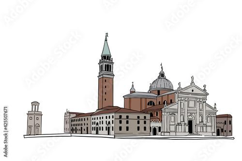 Obraz na plátně vector sketch of the Cathedral of San Giorgio Maggiore, Venice, Italy