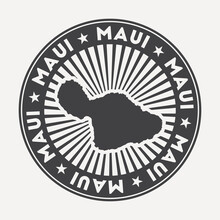 Maui Round Logo. Vintage Travel Badge With The Circular Name And Map Of Island, Vector Illustration. Can Be Used As Insignia, Logotype, Label, Sticker Or Badge Of The Maui.