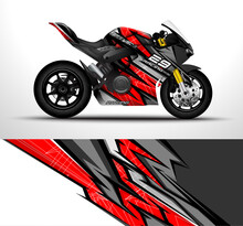 Racing Motorcycle Sport Bikes Wrap Decal And Vinyl Sticker Design. Concept Graphic Abstract Background For Wrapping Vehicles And Livery