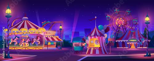 Fotografie, Tablou Amusement park at night
