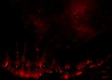 夜に星空の下で燃える廃墟の街真紅のイラスト