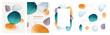 Brochures cover abstract watercolor design elements isolated backgrounds set. Vector presentation covers creative liquid fluid blotches backdrops. Pastel spot bubbles, minimal geometric textures