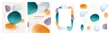Brochures Cover Abstract Watercolor Design Elements Isolated Backgrounds Set. Vector Presentation Covers Creative Liquid Fluid Blotches Backdrops. Pastel Spot Bubbles, Minimal Geometric Textures