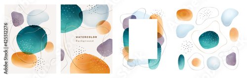 Fotografija Brochures cover abstract watercolor design elements isolated backgrounds set