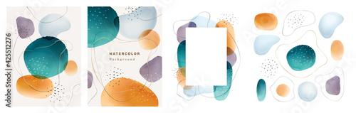 Fototapeta Brochures cover abstract watercolor design elements isolated backgrounds set. Vector presentation covers creative liquid fluid blotches backdrops. Pastel spot bubbles, minimal geometric textures obraz