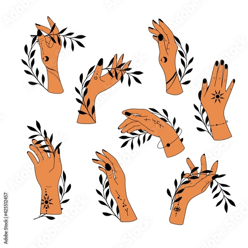 Collection hand drawn hands Fototapet